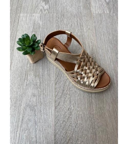 Sandale compensée or